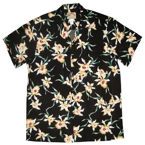 "Men's Paradise Found® Aloha Short Sleeve Hawaiian Shirt, Star Orchid Black ""The Other Magnum P.I. Shirt"""