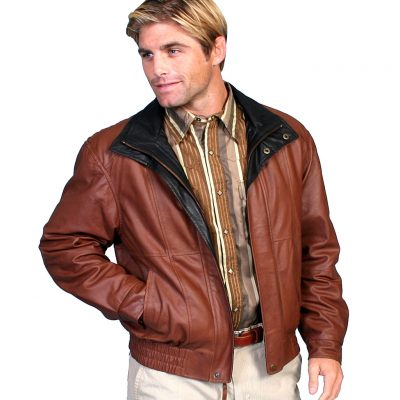 Scully® Men's Featherlite Leather Jacket #48 Brown