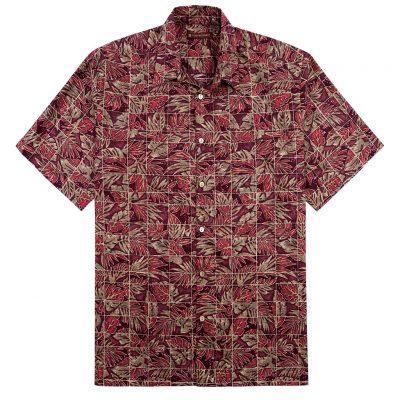 Men's Tori Richard® Cotton Lawn Short Sleeve Shirt, Mix-N-Match #6407 Wine