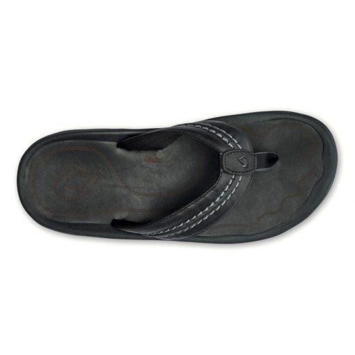 Men's OluKai® Hokua Leather Sandal #10312 Black / Black