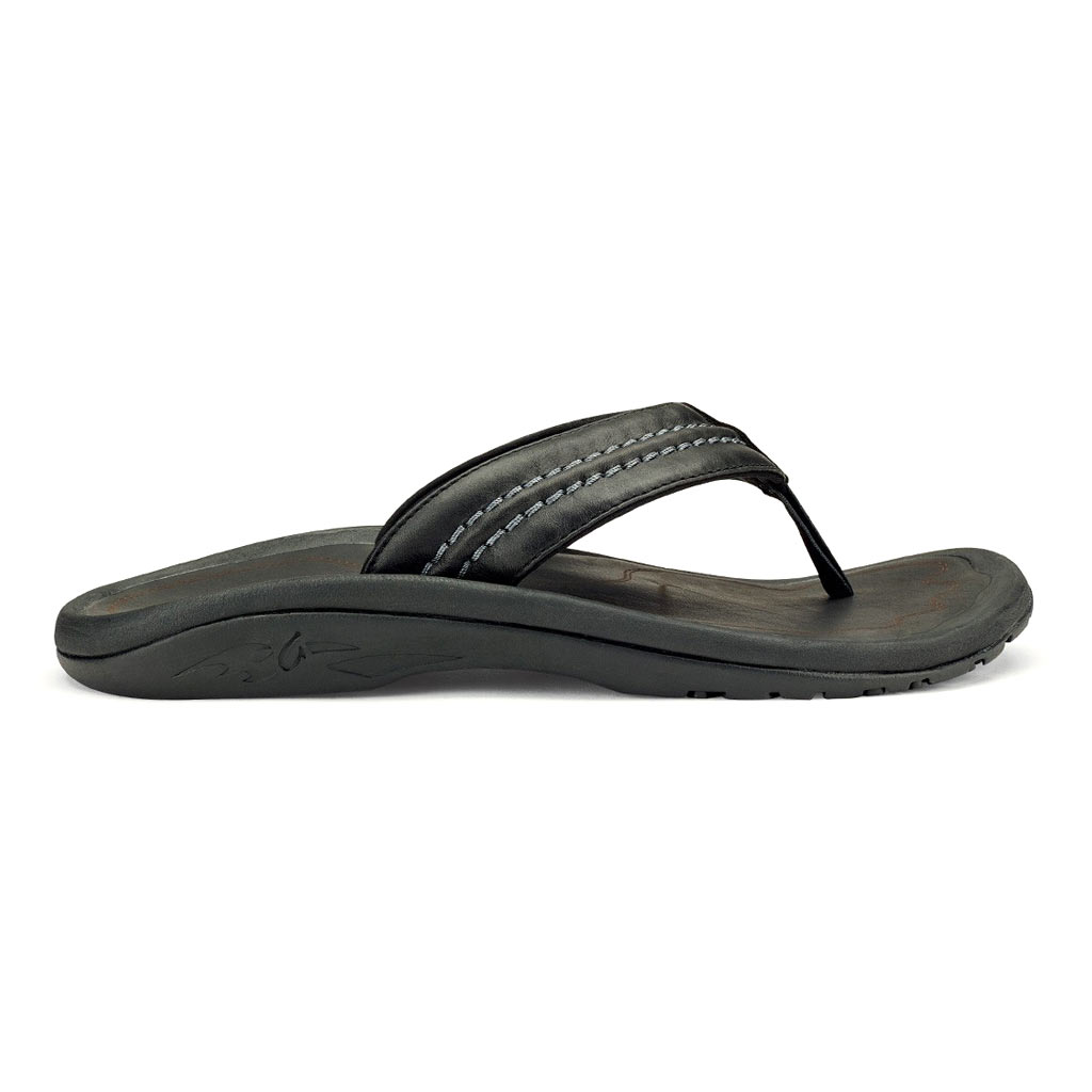 Men's OluKai® Hokua Leather Sandal #10312 Black / Black