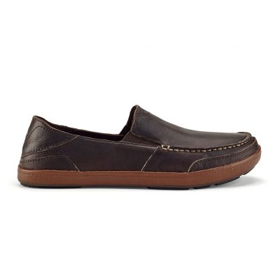 Men's OluKai® Puhalu Leather Slip-On Loafer #10302 Dark Wood / Toffee