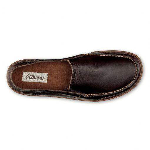 Men's OluKai® Puhalu Leather Slip-On Loafer #10302 Dark Wood / Toffee