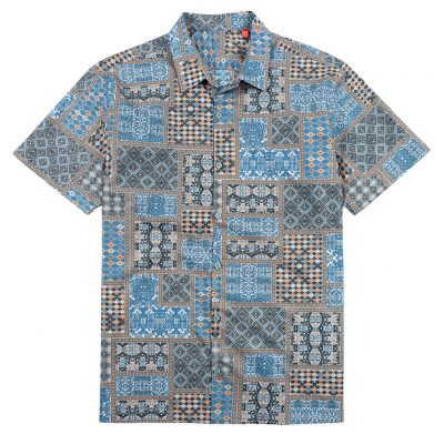 Men's Tori Richard® Cotton Lawn Relaxed Fit Short Sleeve Shirt, Empire #6428 Caviar