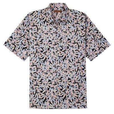 Men's Tori Richard® Cotton Lawn Relaxed Fit Short Sleeve Shirt, Free Spirit #6392 Black