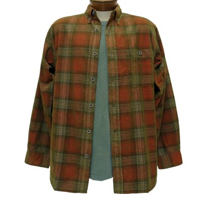 Men's Basic Options® Long Sleeve Yarn Dyed Hombre Plaid Corduroy Shirt, #81043-45A Red/Tan