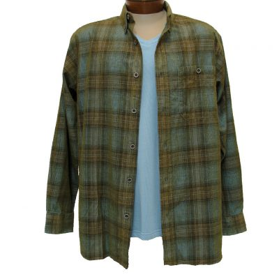 Men's Basic Options® Long Sleeve Yarn Dyed Hombre Plaid Corduroy Shirt, #81043-43A Light Blue/Tan