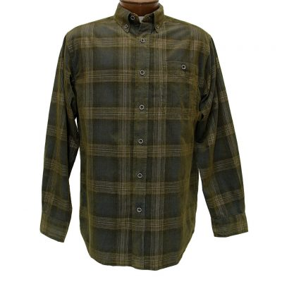 Men's Basic Options® Long Sleeve Yarn Dyed Hombre Plaid Corduroy Shirt, #81043-52B Navy/Brown