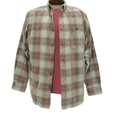 Men's Basic Options® Long Sleeve Yarn Dyed Hombre Plaid Corduroy Shirt, #81043-71B Stone/Red