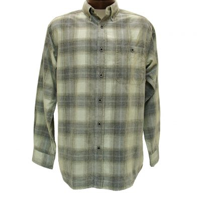 Men's Basic Options® Long Sleeve Yarn Dyed Hombre Plaid Corduroy Shirt, #81043-73B Stone/Navy