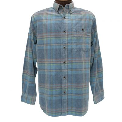 Men's Basic Options® Long Sleeve Yarn Dyed Hombre Plaid Corduroy Shirt, #81740-83C Blue