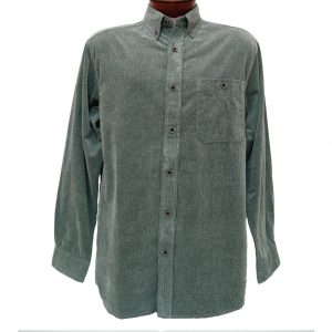 Men's Basic Options Long Sleeve Yarn Dyed Solid Corduroy Shirt, #81560-1 Ash