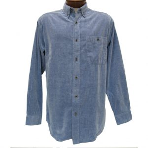 Men's Basic Options Long Sleeve Yarn Dyed Solid Corduroy Shirt, #81560-3 Blue (L & XL, ONLY!)