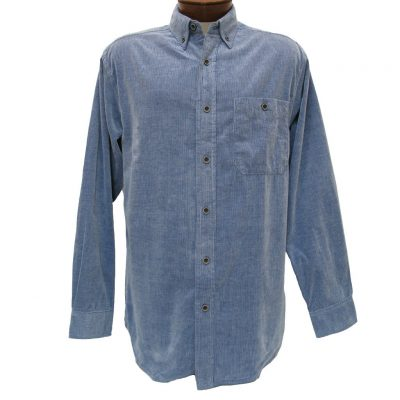 Men's Basic Options® Long Sleeve Yarn Dyed Solid Corduroy Shirt, #81560-3 Blue