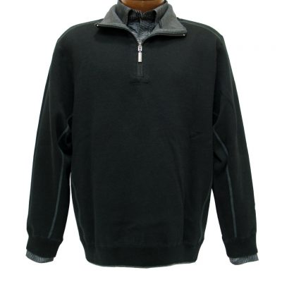 Men's F/X Fusion® 100% Cotton Reversible 1/4-Zip Mock Sweater With Contrast Stitching, #700 Black To Charcoal