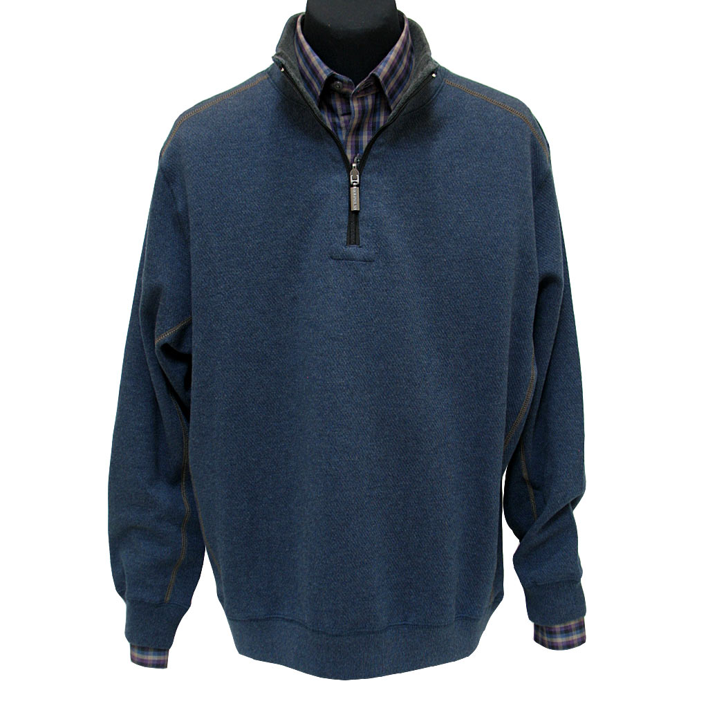 Men's F/X Fusion® 100% Cotton Reversible 1/4-Zip Mock Sweater With Contrast Stitching, #700 Deep Ocean To Charcoal
