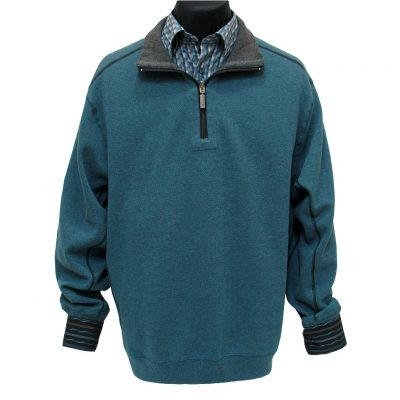 Men's F/X Fusion® 100% Cotton Reversible 1/4-Zip Mock Sweater With Contrast Stitching, #700 Teal Heather To Charcoal