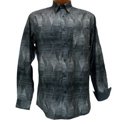 Men's F/X Fusion® 100% Cotton Long Sleeve Woven Sport Shirt With Contrast Trim, Charcoal Abstract #D852