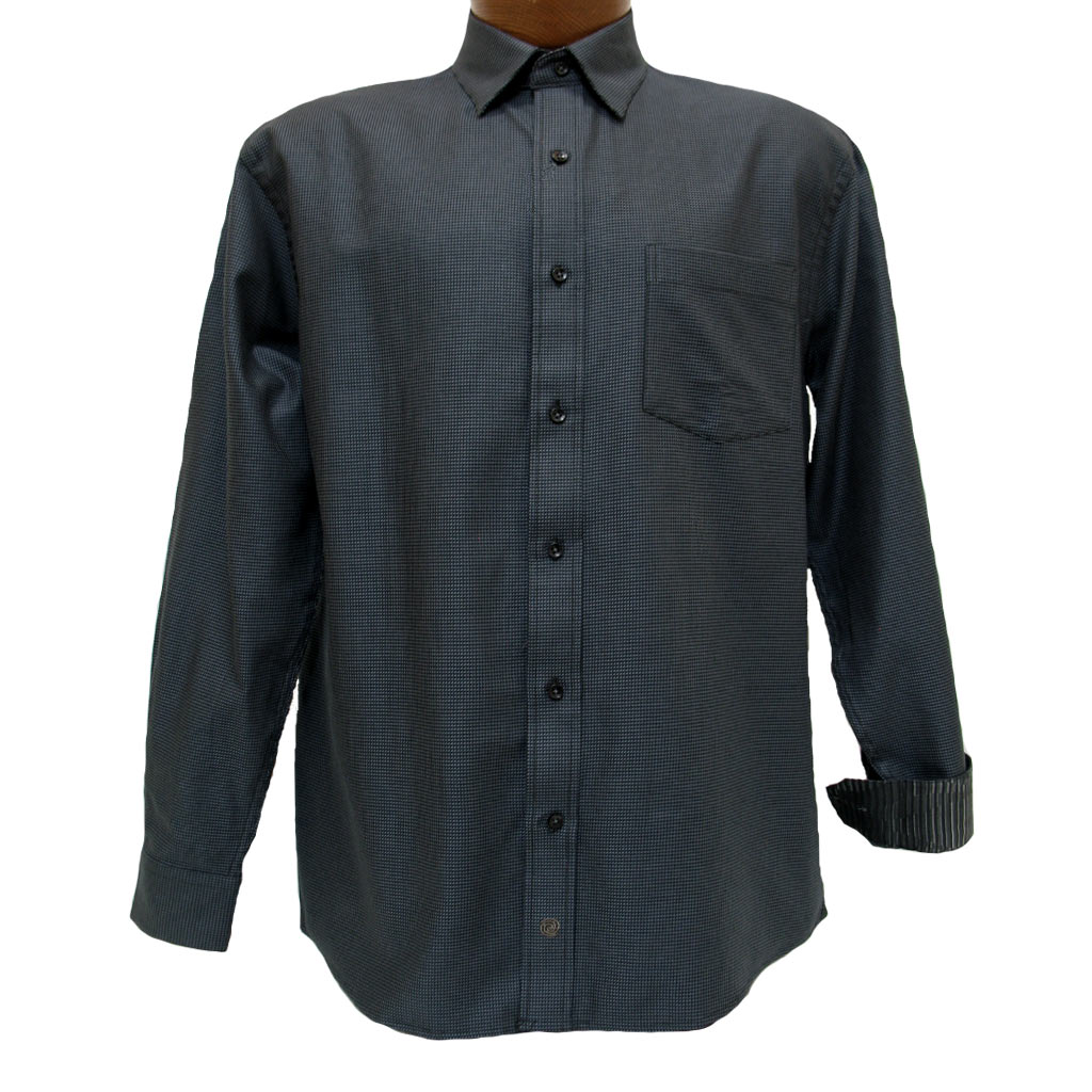 Men's F/X Fusion® 100% Cotton Long Sleeve Woven Sport Shirt With Contrast Trim, Charcoal #D855