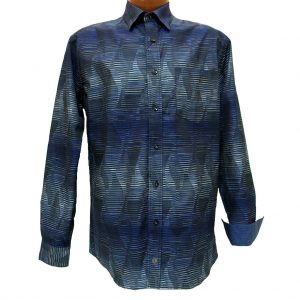 Men's F/X Fusion® 100% Cotton Long Sleeve Woven Sport Shirt With Contrast Trim, Royal Abstract #D851