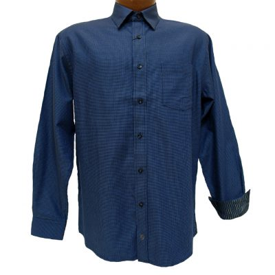 Men's F/X Fusion® 100% Cotton Long Sleeve Woven Sport Shirt With Contrast Trim, Royal #D854