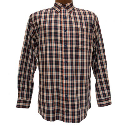 Men's F/X Fusion® Long Sleeve Woven Sport Shirt, Navy/Orange Check #D824