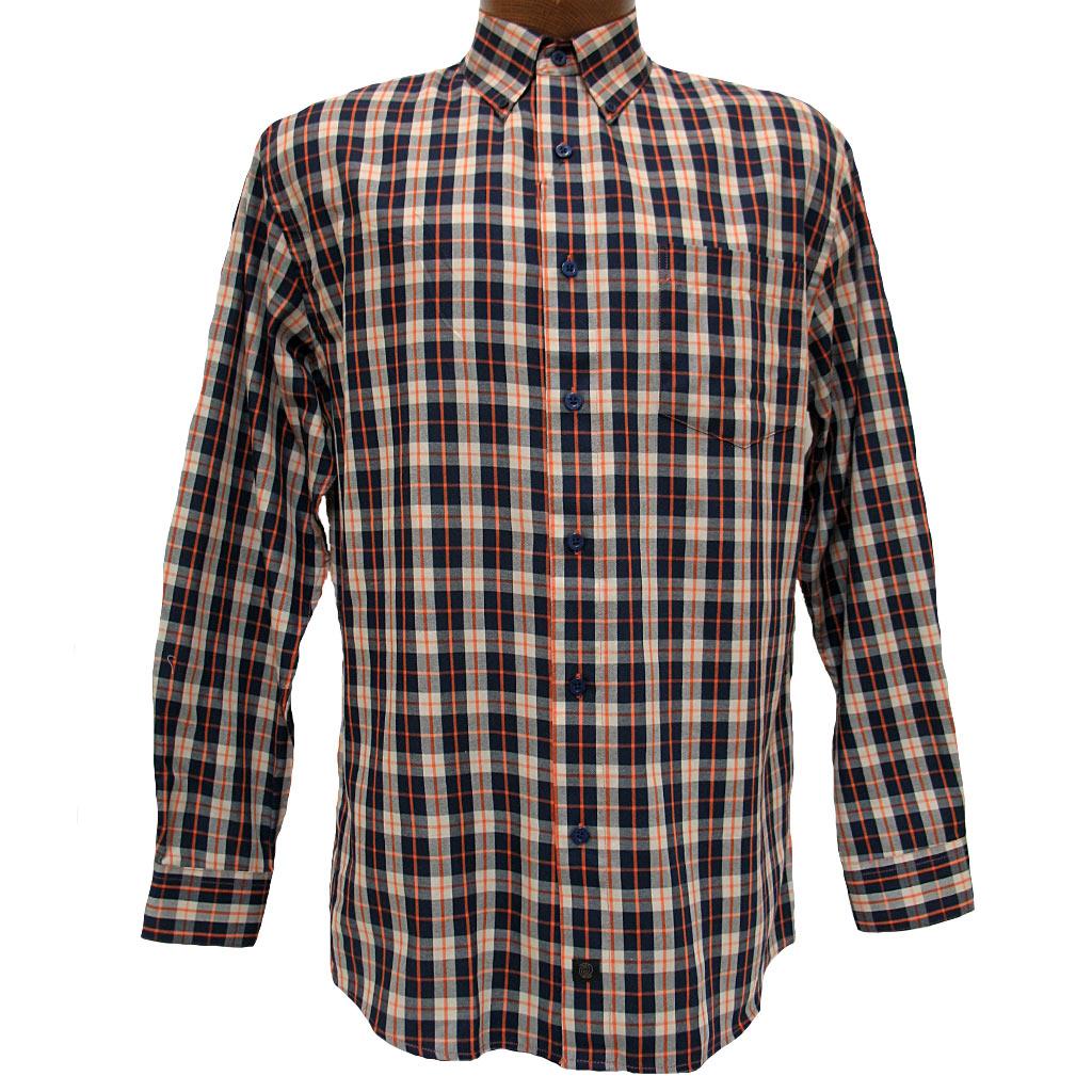 Men's F/X Fusion® Long Sleeve Woven Sport Shirt, Navy/Orange Check #D824