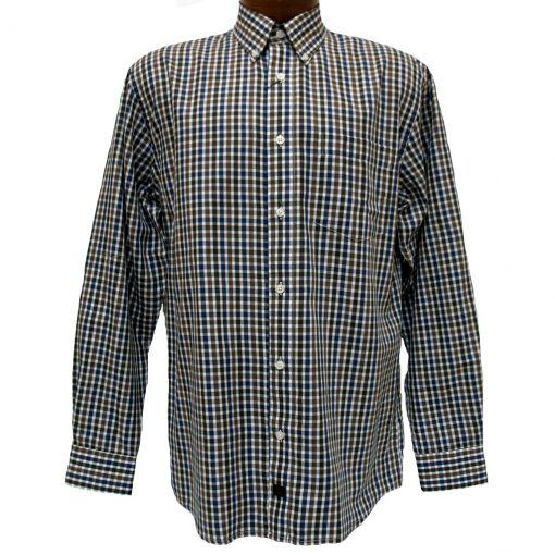 Men's F/X Fusion® Long Sleeve Woven Sport Shirt, Olive/Ecru Check #D828