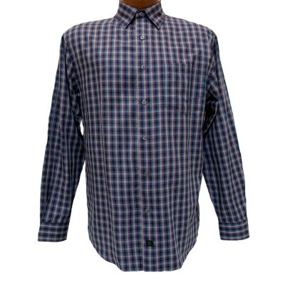 Men's F/X Fusion® Long Sleeve Woven Sport Shirt, Purple/Taupe Check #D817