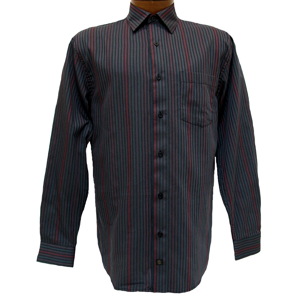 Men's F/X Fusion® Long Sleeve Woven Sport Shirt, Red/Charcoal Stripe #D816