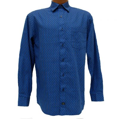 Men's F/X Fusion® Long Sleeve Woven Sport Shirt, Royal Mini Check #D810