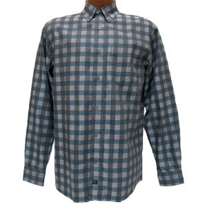 Men's F/X Fusion® Long Sleeve Woven Sport Shirt, Teal Check #D820 (XXL, ONLY!)