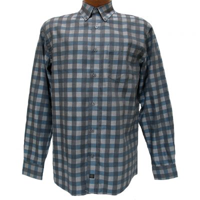 Men's F/X Fusion® Long Sleeve Woven Sport Shirt, Teal Check #D820