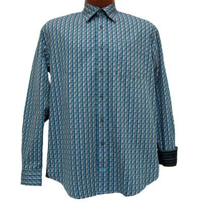 Men's F/X Fusion® Long Sleeve Woven Sport Shirt With Contrast Trim, Teal Geometric #D835