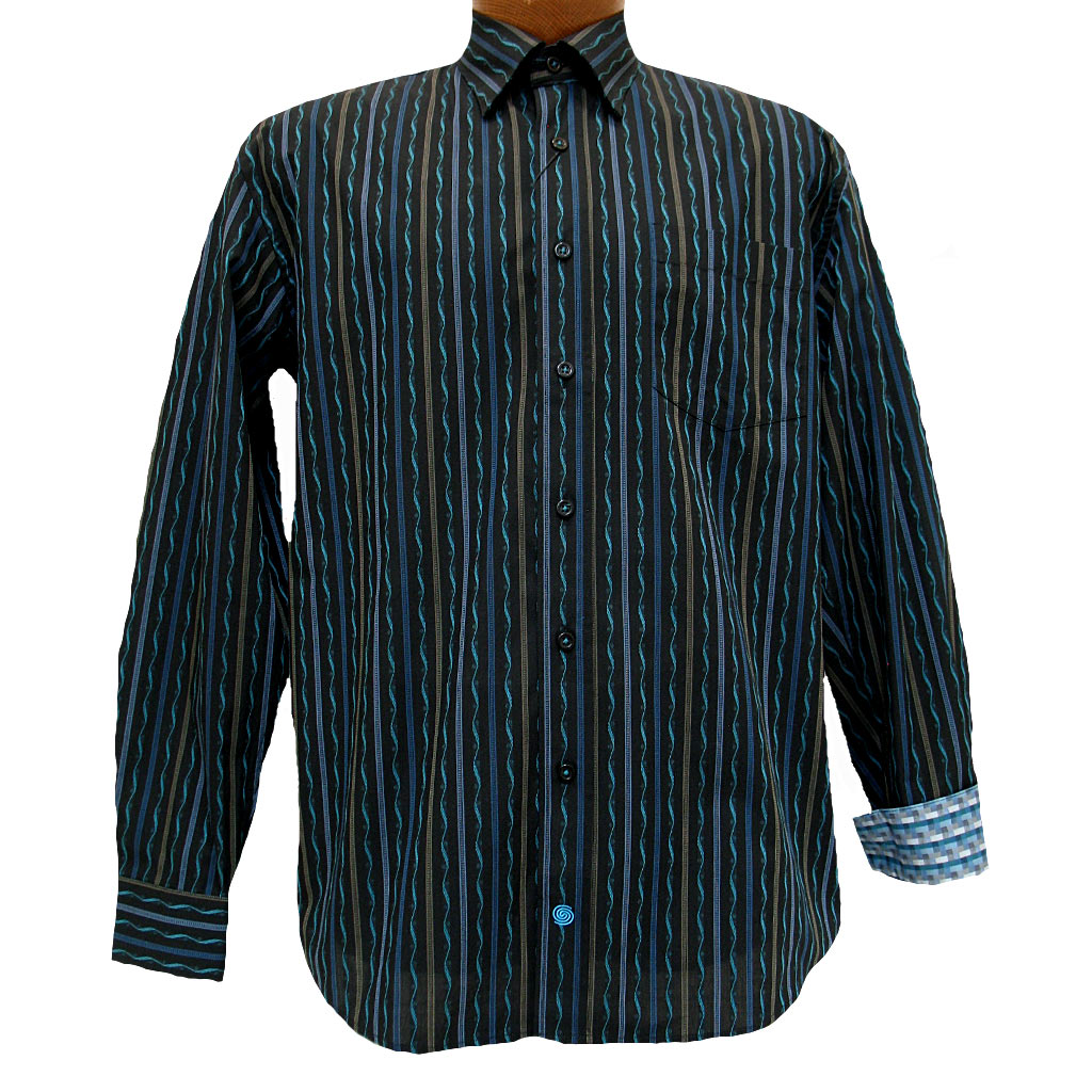 Men's F/X Fusion® Long Sleeve Woven Sport Shirt With Contrast Trim, Black/Teal Textured Stripe #D836