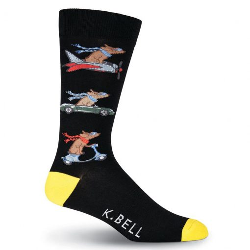 Men's K. BELL® Novelty Crew Socks Dogs Road Trip , Black