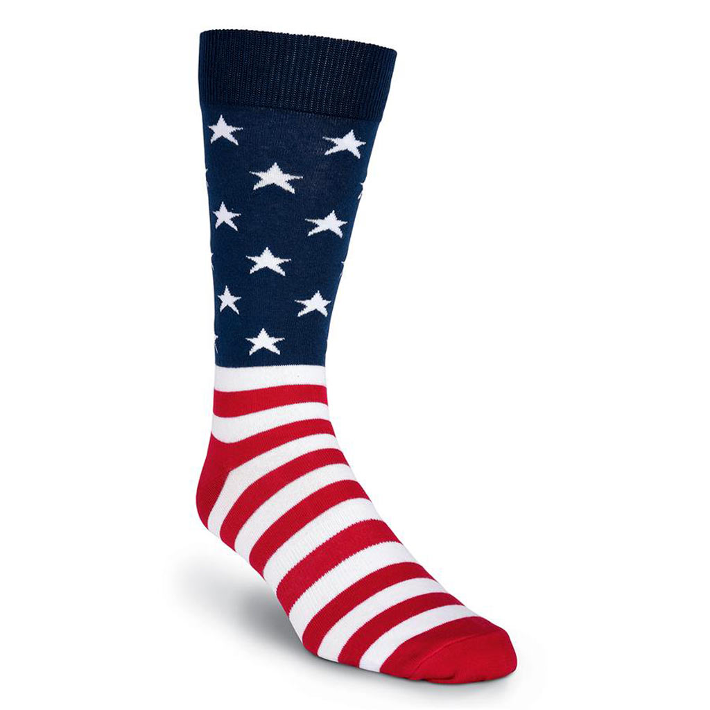 Mens K. BELL® Made In America Novelty Crew Socks American Flag, Red White And Blue
