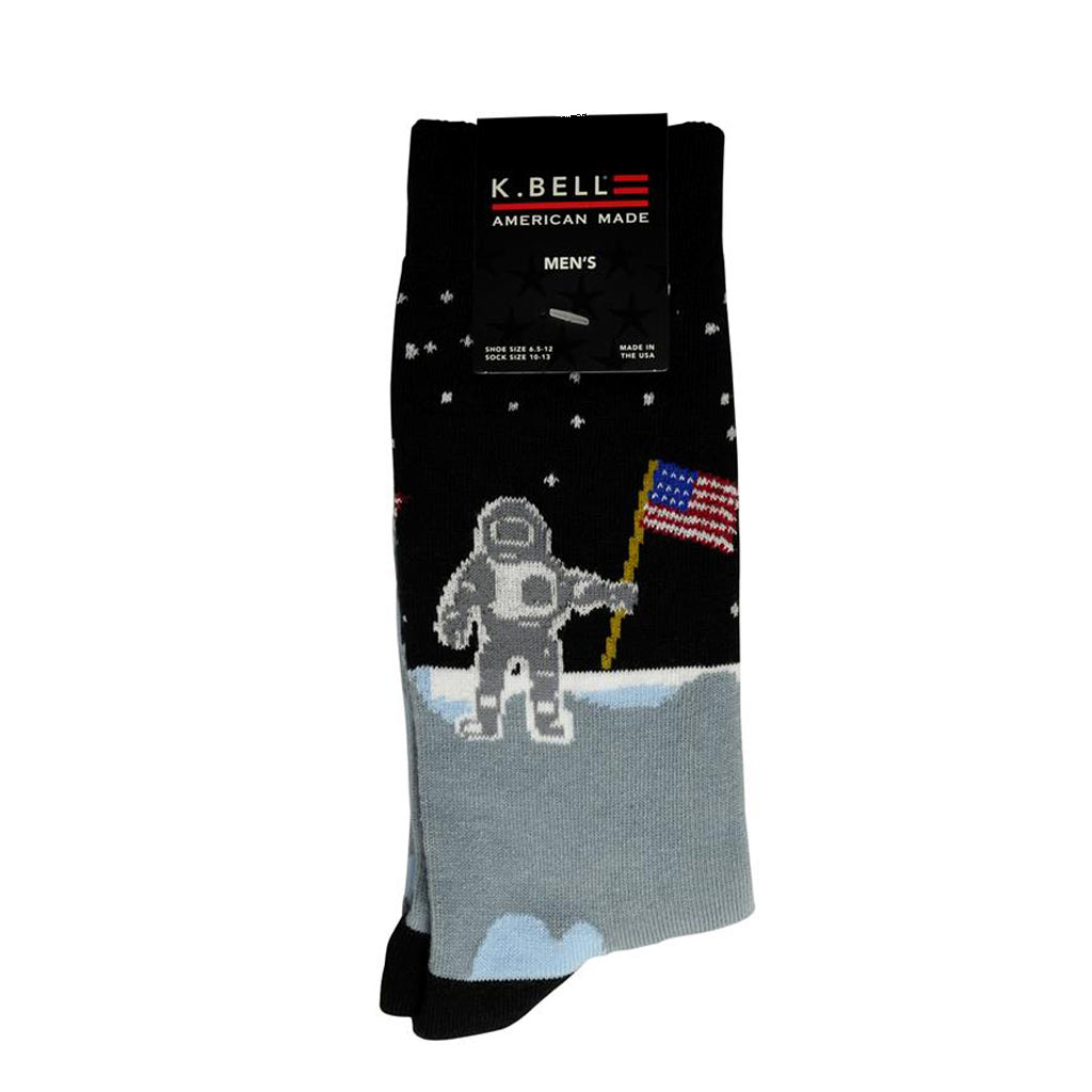 Men's K. BELL® Made In America, Man On The Moon Crew Socks, Black