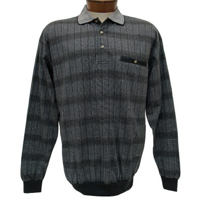 Men's LD Sport By Palmland® Long Sleeve Jacquard Knit Banded Bottom Shirt #6096-502 Grey Heather