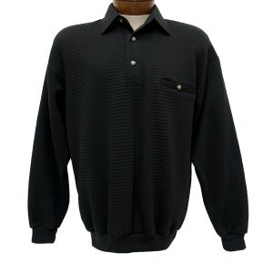 Men's Classics – LD Sport By Palmland Long Sleeve Solid Textured Banded Bottom Shirt #6094-950, Black