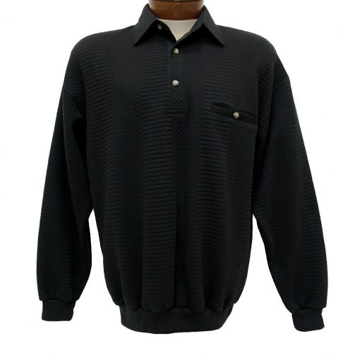 en's LD Sport By Palmland® Long Sleeve Solid Textured Banded Bottom Shirt #6094-950-36 Black