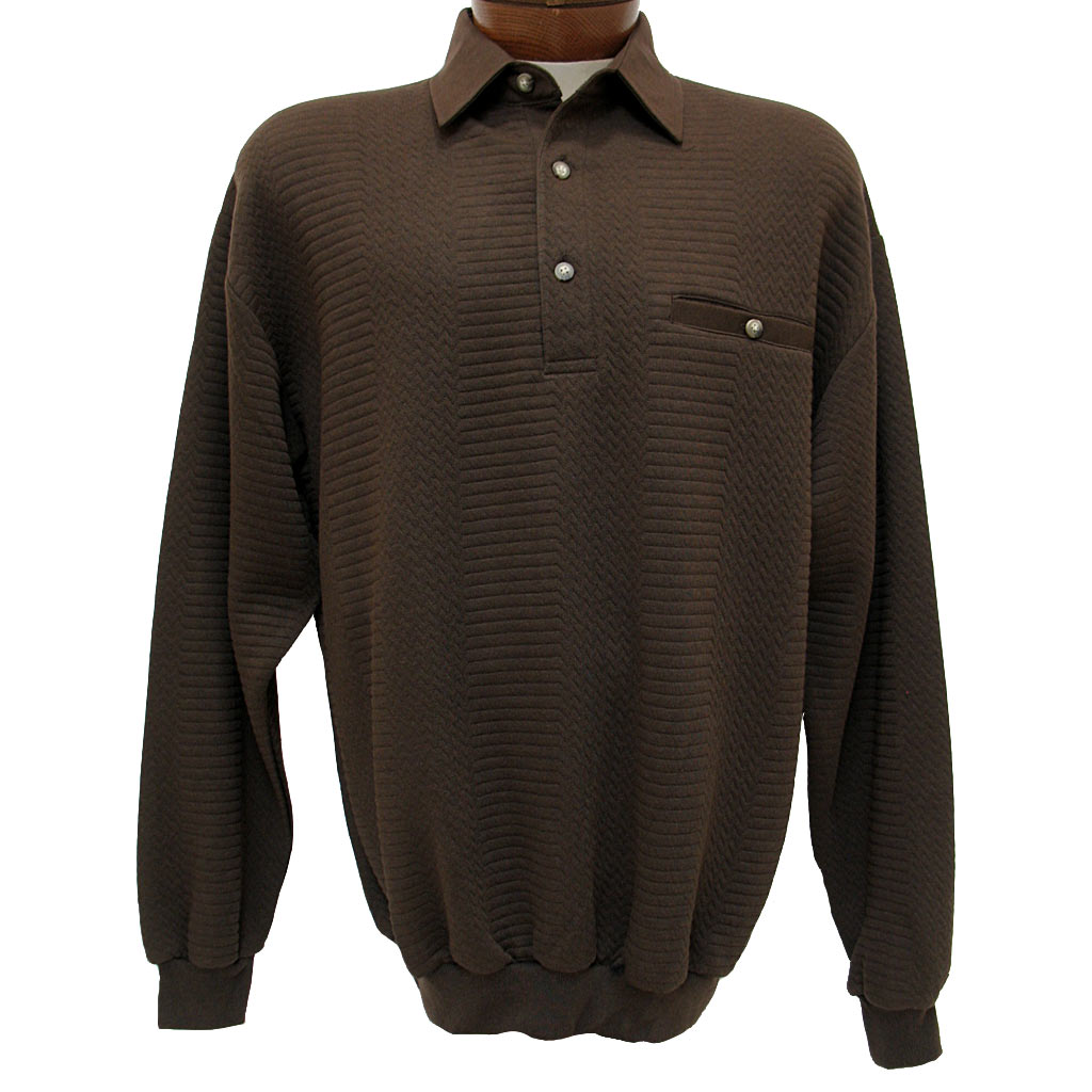 Men's LD Sport By Palmland® Long Sleeve Solid Textured Banded Bottom Shirt #6094-950-36 Brown Heather