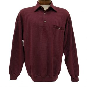 Men's Classics – LD Sport By Palmland Long Sleeve Solid Textured Banded Bottom Shirt #6094-950, Burgundy (XL & XXL, ONLY!)