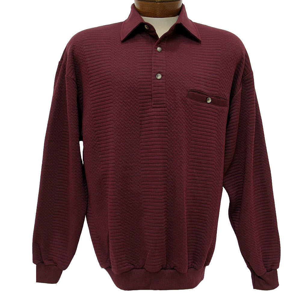 Men's LD Sport By Palmland® Long Sleeve Solid Textured Banded Bottom Shirt #6094-950-36 Burgundy