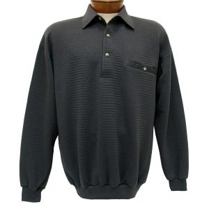 Men's Classics – LD Sport By Palmland Long Sleeve Solid Textured Banded Bottom Shirt #6094-950, Charcoal (XXL, ONLY!)