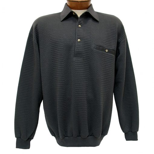 Men's LD Sport By Palmland® Long Sleeve Solid Textured Banded Bottom Shirt #6094-950-36 Charcoal Heather