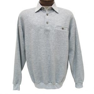 Men's Classics – LD Sport By Palmland Long Sleeve Solid Textured Banded Bottom Shirt #6094-950, Grey Heather