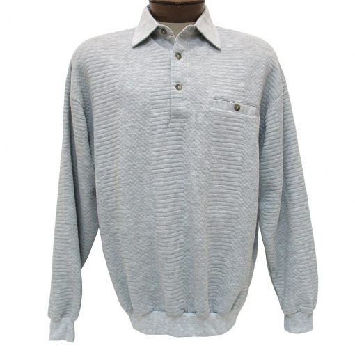 Men's LD Sport By Palmland® Long Sleeve Solid Textured Banded Bottom Shirt #6094-950-36 Grey Heather