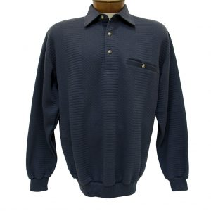 Men's Classics – LD Sport By Palmland Long Sleeve Solid Textured Banded Bottom Shirt #6094-950, Navy (XL & XXL, ONLY!)