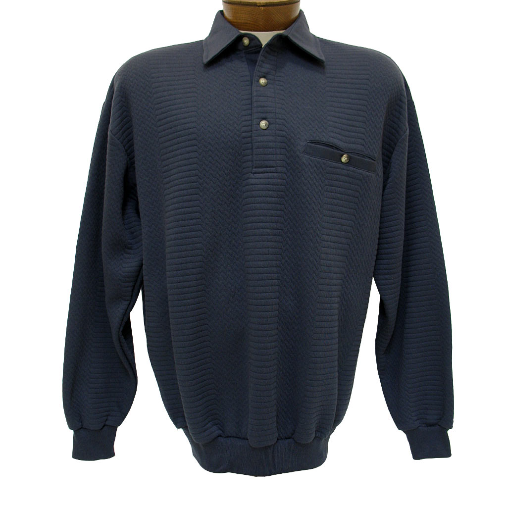 Men's LD Sport By Palmland® Long Sleeve Solid Textured Banded Bottom Shirt #6094-950-36 Navy Heather